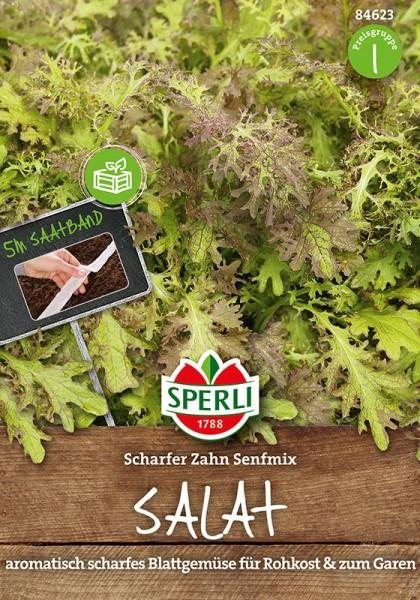 Salat Scharfer Zahn Senfmix, 5m Saatband