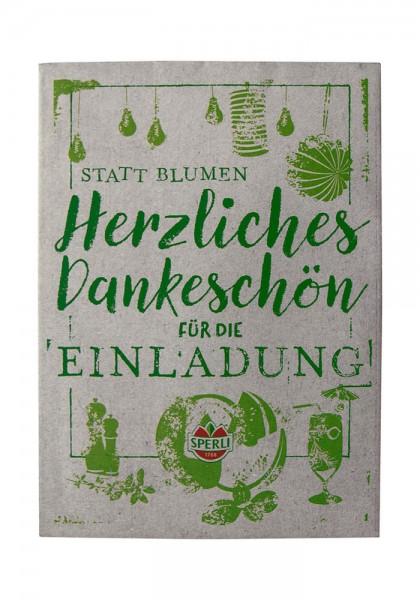 """Saatgut Spruchkarte """"Herzliches Dankeschön"""" Grillkräuter"""