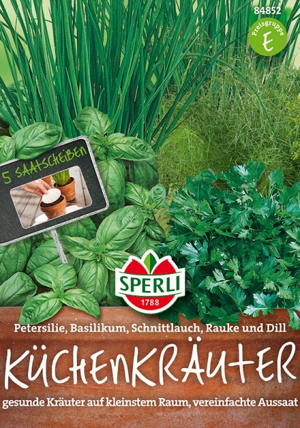 Küchenkräuter-Kombination Petersilie, Basilikum, Schnittlauch, Rauke, Dill 5 Saatscheiben