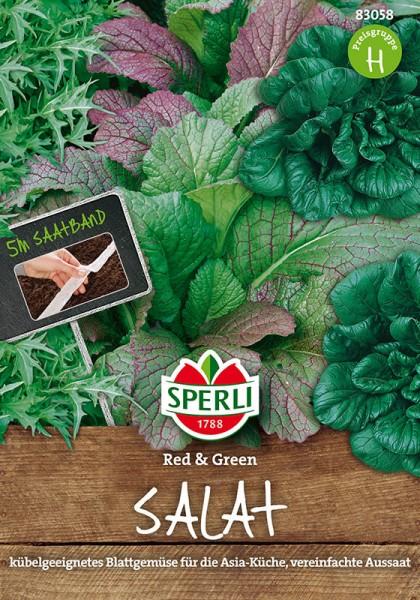 Asia-Salatmischung Red & Green. 5 m Saatband