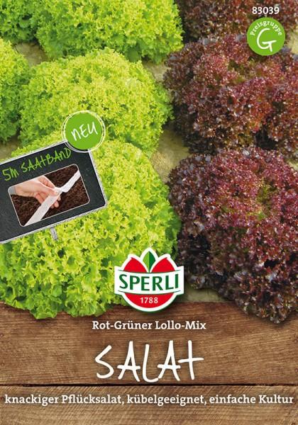 Salat Rot-Grüner Lollo-Mix, Lollo rossa / Lollo Bionda