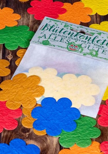 """Konfetti aus Saatpapier in Blütenform """"Alles Gute"""""""