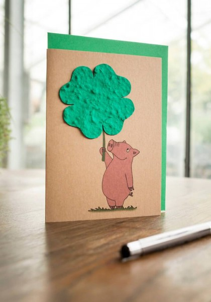 "Wildblumen-Grußkarte ""Ferkel mit Kleeblatt"""