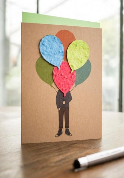 """Wildblumen-Grußkarte """"Junge mit Ballonstrauß"""""""