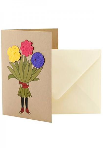 """Wildblumen-Grußkarte """"Blumenmädchen"""""""